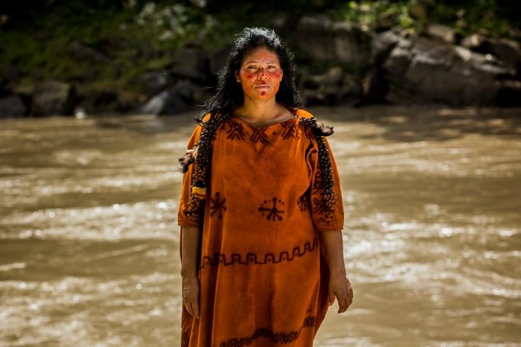 Ruth Buendia near the bank of the Ene River, Peru